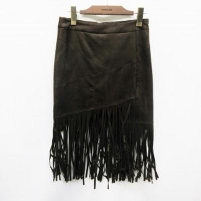 【中古】リリーブラウン Lily Brown スカート 膝丈 タイト フリンジ 無地 フェイクスエード 0 (S相当) 茶 ブラウン系