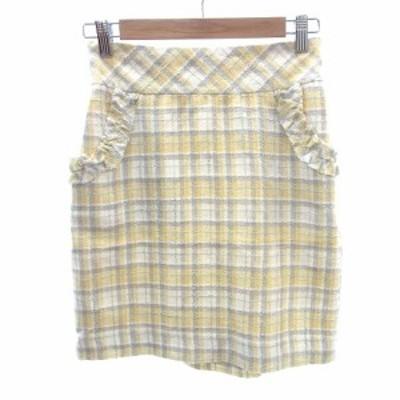 【中古】ウィルセレクション WILLSELECTION 台形スカート ミニ フリル カットオフ ラメ ツイード チェック  黄色