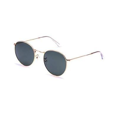 サングラスレトロ ラウンド クリスタル サングラス クラシック メンズ レディース ゴールド メタル フレーム サークル グリーン ガラス レンズ サ