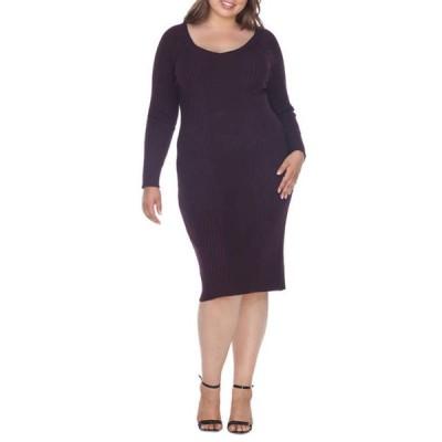 ホワイトマーク レディース ワンピース トップス Plus Size 'Destiny' Knee Length Sweater Dress