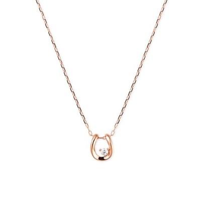 ツツミ ネックレス K10ピンクゴールドダイヤモンドネックレス 馬蹄 ホースシュー