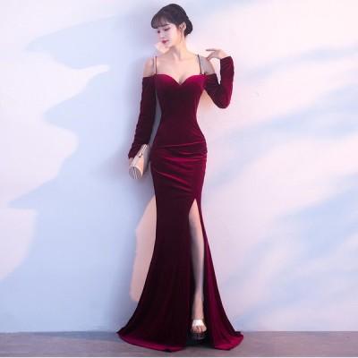 パーティードレス イブニングドレス 安い 可愛い ロング スリット マーメイド 結婚式 披露宴 発表会 演奏会