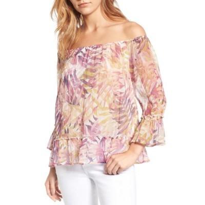 レディース 衣類 トップス Women's Blouse Multi Off Shoulder Palm-Print XS ブラウス&シャツ