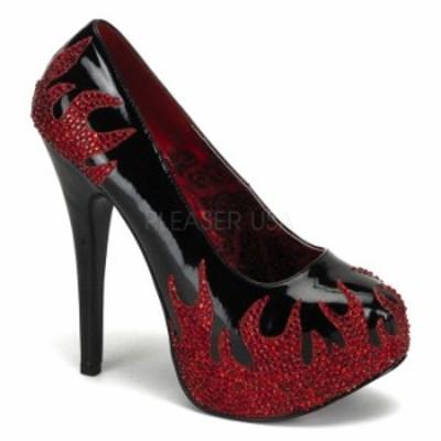 取寄 靴 送料無料 炎デザインのラインストーンデコ 厚底パンプス 14.5cmヒール 黒ブラックエナメル赤レッド BORDELLOボルデロ 大きいサイ