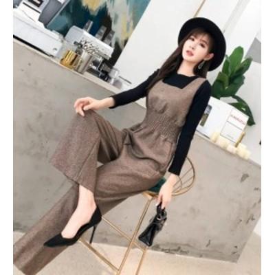 韓国 ファッション レディース オールインワン ハイウエスト ワイドパンツ 大きいサイズ オルチャン カジュアル 大人可愛い きれいめ