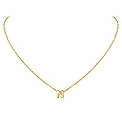 925スターリングシルバー イニシャルチャーム A~Zの刻印付き 18Kゴールド/プラチナメッキ 小さな上品なアルファベットネックレス カスタ