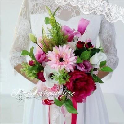 送料無料◆ウエディングブーケ 花束 花飾り 結婚式 バラ造花 ウェディング用  アレンジメント 花嫁 披露宴 手作り キット ブライダルブーケ