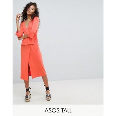 エイソス ASOS Tall レディース ワンピース ワンピース・ドレス ASOS DESIGN Tall midi wrap dress Coral