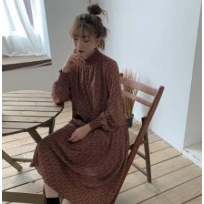 3色 ワンピース ロング 花柄 プリーツ フレア 長袖 ゆったり レトロ カジュアル 大人可愛い 韓国 オルチャン ファッション