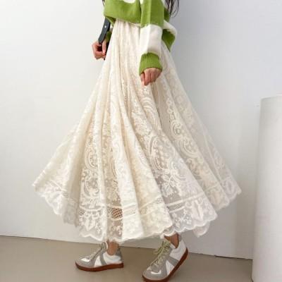 春の身の上 V【loosedeli】オトナ女子におすすめのレースロングスカート