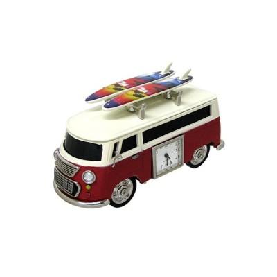 ミニチュアクロック C3159KP238-RD ワゴンカー赤+サーフボード