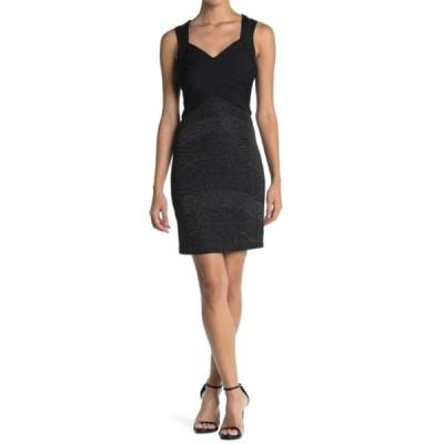 ゲス レディース ワンピース トップス V-Neck Bandage Dress With Back Cutout BLACK/SILV