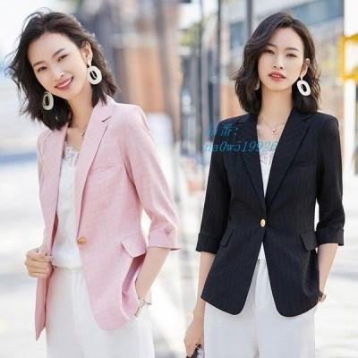 サマージャケット ピンク 黒 通勤 白 ジャケット 20代 オフィス 大きいサイズ 30代 テーラードジャケット チェック柄 7分袖 40代 OL レディース