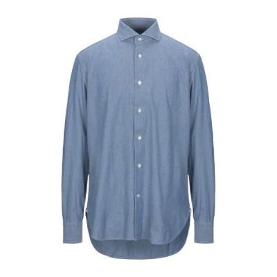 DANOLIS 無地シャツ ファッション  メンズファッション  トップス  シャツ、カジュアルシャツ  長袖 ブルー