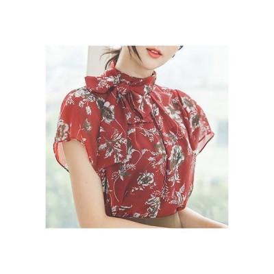 ブラウス レディース 春夏 40代 50代 フォーマル ファッション 女性 上品 黒 花柄 ボタニカル柄 半袖 リボンネック きれいめ 通勤