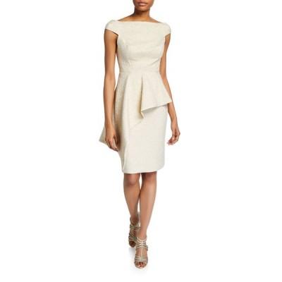 テリージョン レディース ワンピース トップス Metallic Jacquard Off-Shoulder Cap-Sleeve Asymmetric Peplum Dress