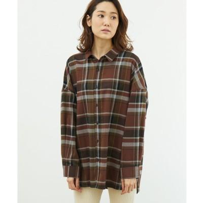 ROPE' PICNIC 起毛チェックゆるシャツ(ダークブラウン(20))【返品不可商品】