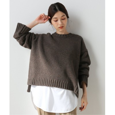 レディース フレームワーク 【ATON】SILTE MOULINE OVERSIZED CREWNECK SWEATER◆ グレーA フリー
