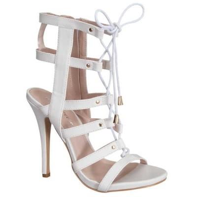 ヒール パンプス ビジネス シューズ 靴  ベストon GB08 レディース Stylish Caged Lace Up Gladiator デザイン Side ジッパー サンダル WHITE