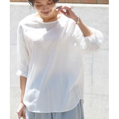 シャツ ブラウス 製品洗い綿サテン ボリューム袖2wayプルオーバーシャツ