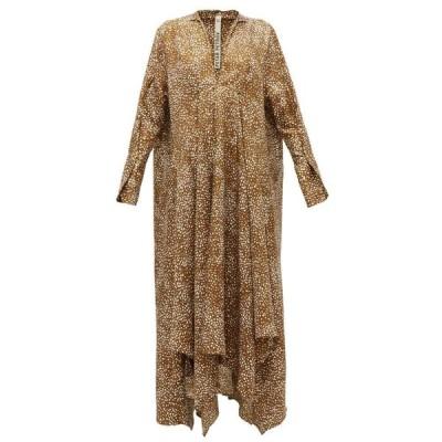 ペーター ペトロフ Petar Petrov レディース ワンピース ワンピース・ドレス Alex abstract dot-print silk-twill dress Brown
