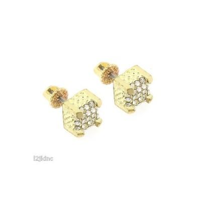イヤリング スタッド アメリカン ジュエリー ヒップホップ Mens Gold Finished 10mm M Box Cubes Lab Cz Studs Screw Back Stud Earrings