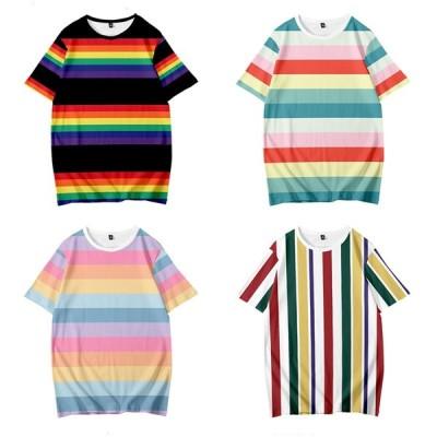 トップス Tシャツ 半袖 半そで  丸首 ストライプ プリントTシャツ メンズ レディース ユニセックス  夏 カジュアル 可愛い