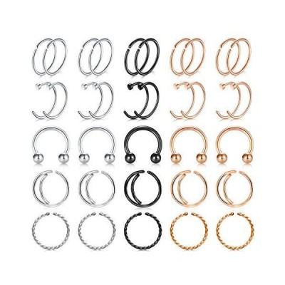 20G Nose Rings Hoop Nose Rins Surgical steel Nose Septum Rings for wom