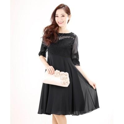 【ブルーイースト】 《結婚式 パーティー 二次会》袖付きコード刺繍×シフォン切り替えドレス レディース ブラック M BLUEEAST