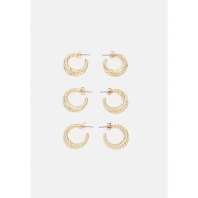 ピーシーズ ピアス&イヤリング レディース アクセサリー PCVIPPA EARRINGS 3 PACK - Earrings - gold-coloured