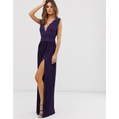 エイソス レディース ワンピース トップス ASOS DESIGN premium lace insert pleated maxi dress Deep purple