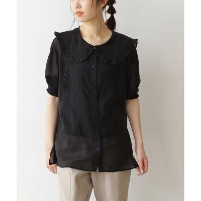 シャツ ブラウス ◆フリルカラーシアーシャツ