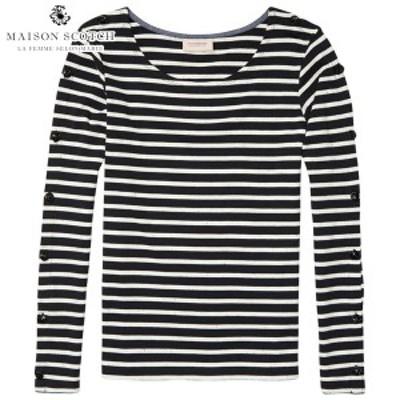 メゾンスコッチ レディース Tシャツ ロンT 正規販売店 MAISON SCOTCH 長袖Tシャツ BRETON T-SHIRT 134853 20 COMBO D D00S15  父の日 ギ