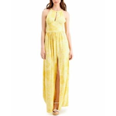 マイケルコース レディース ワンピース トップス Printed Keyhole Maxi Dress Regular & Petite Saffron