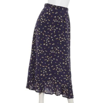 Cheek (チーク) レディース プリント裾ペプラムスカート ネイビー M