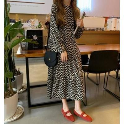 韓国 ファッション レディース ワンピース ロング ドット ティアード レトロ 長袖 ゆったり カジュアル 大人可愛い 秋冬