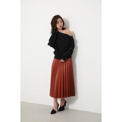 F Leather Pleat J/W Long SK