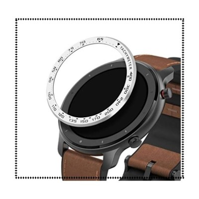kwmobile 対応: Huami Amazfit GTR (47mm) ベゼル リング フィットネストラッカー - 保護 タキメーター シルバー/黒色