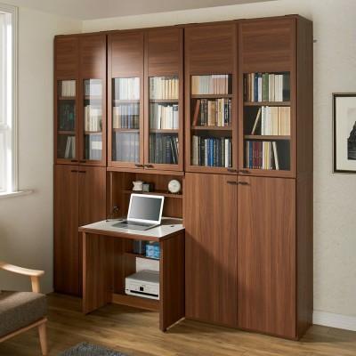デスク幅74.5cm+ 板扉 本棚 幅74.5cm(重厚感のあるがっちり本棚シリーズ 上下セット+天井突っ張り金具) ブラウン