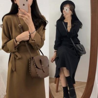 ロングワンピース 春 後ろリボン 韓国 ファッション レディース ワンピース ウエストマーク フレアワンピース 春服 レディース ブラウン