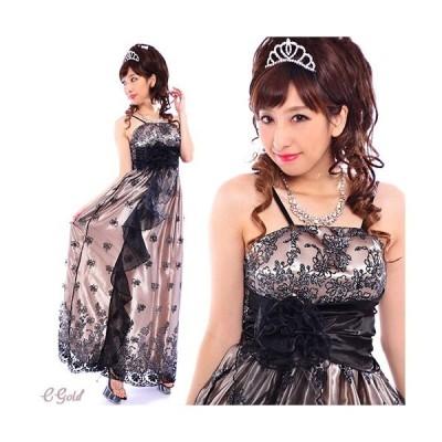 ブラックフラワーレースフリルロングドレス