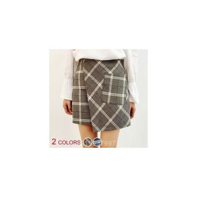 【大きいサイズ有】全2色/ラップ風チェック柄スカート
