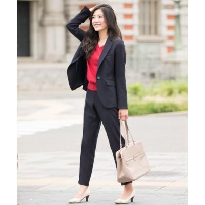 洗えるウール調9分丈テーパードストレッチパンツスーツ【レディーススーツ】 (レディース)スーツ, women's suits,  plus size women's suits