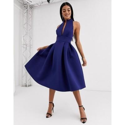 エイソス レディース ワンピース トップス ASOS DESIGN high neck plunge midi prom dress with strappy back detail