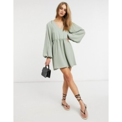 エイソス レディース ワンピース トップス ASOS DESIGN textured mini smock dress with volume sleeves in sage green Sage green