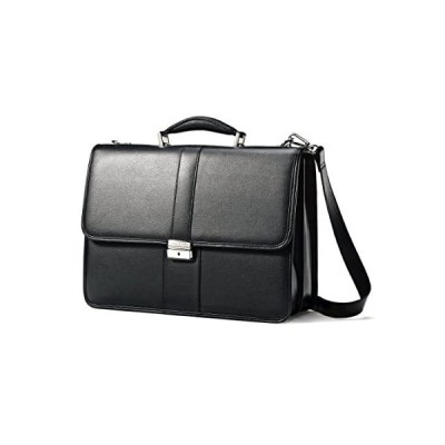 Samsonite Leather Flapover Briefcase, Black, One Size