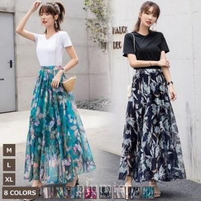 メメメクラゲ8色スカートエレガントシフォンプリントダンス用ロマンチックふんわりやさしい気質ソフトレーヨン裏地あり
