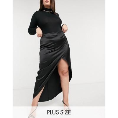 フラウンスロンドン Flounce London Plus レディース ロング・マキシ丈スカート スカート Gathered Satin Midaxi Skirt With Thigh Split ブラック