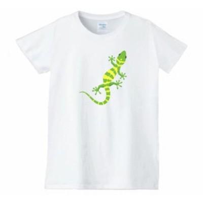 トカゲ レディース 動物 生き物 Tシャツ 白