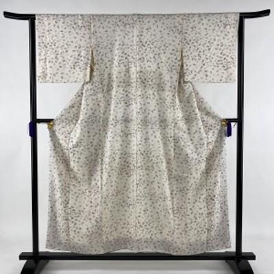 小紋 秀品 桜の花びら 地紋 クリーム 袷 身丈155cm 裄丈64cm M 正絹 中古